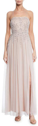 Aidan Mattox Sleeveless Hand-Beaded Full-Skirt Gown w/ Thigh-Slit