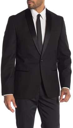 Ben Sherman Black Tonal Diamond One Button Notch Lapel Sport Coat