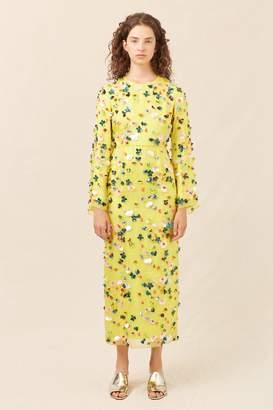 Mansur Gavriel Floral Embellished Silk Evening Gown