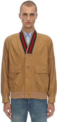 Gucci Leather Bomber Jacket W/web Collar