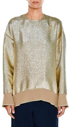 Stella McCartney Crewneck Long-Sleeve Lamé Sweatshirt