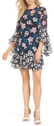Eliza J Flounce Bell Sleeve Floral Fil Coup? Chiffon Shift Dress (Regular & Petite)