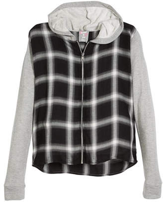 Flowers by Zoe Hooded Plaid Zip-Up Jacket, Size S-XL