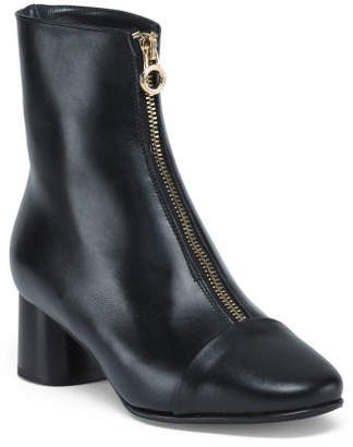 Made In Italy Leather Front Zip Booties