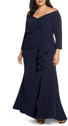Vince Camuto Long Sleeve Off the Shoulder Gown