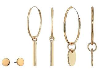 Steve Madden Polished Flat Stud and Bar Circle Charm Four Three-Piece Earrings Set