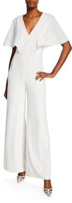 Halston V-Neck Flowy Cape-Sleeve Wide-Leg Jumpsuit