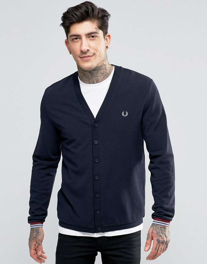 Fred Perry Fred Perry Cardigan In Pique In navy