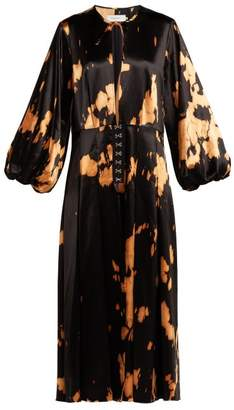 Marques Almeida Marques'almeida - Tie Dye Cotton Blend Satin Dress - Womens - Black Multi