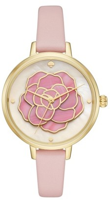 Women's Kate Spade New York 'Rose' Leather Strap Watch, 34Mm $225 thestylecure.com