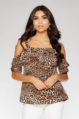dfd17d2f8aad2 Quiz Black And Brown Leopard Print Cold Shoulder Top