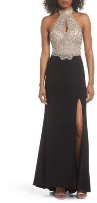 Blondie Nites Embellished Bodice Halter Knit Gown