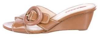 Prada Sport Patent Leather Slide Sandals