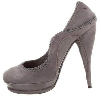 John Galliano Suede Round-Toe Pumps
