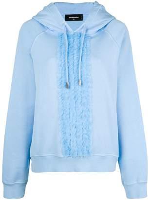 DSQUARED2 frilled drawstring hoodie