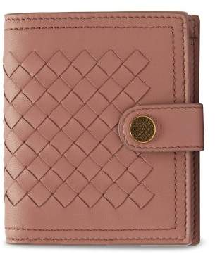 Bottega Veneta Intrecciato Leather Wallet - Womens - Dark Pink