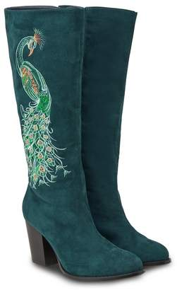 f48e05417ee at Debenhams · Joe Browns Dark Turquoise Suedette  Perfection  High Block  Heel Knee High Boots