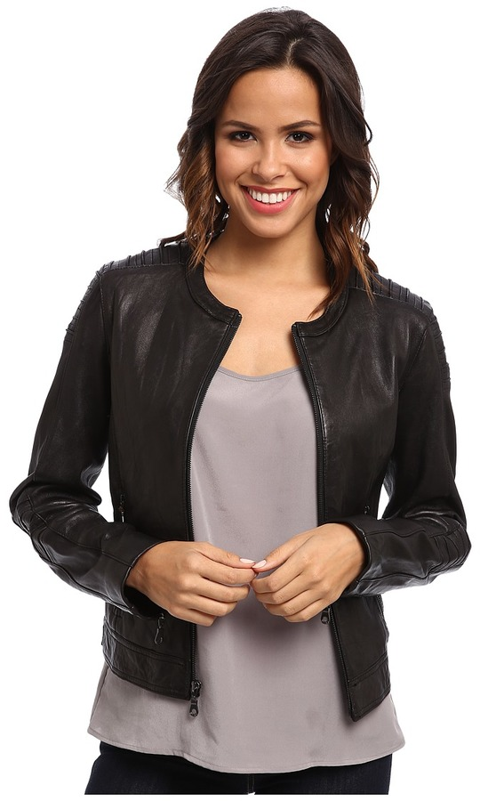 DKNY Collarless Zip Front Leather Jacket (Black) - Apparel