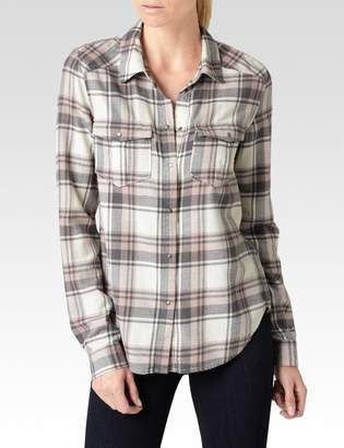 Paige Mya Shirt - White/Grey/Adobe Rose Louisville Plaid