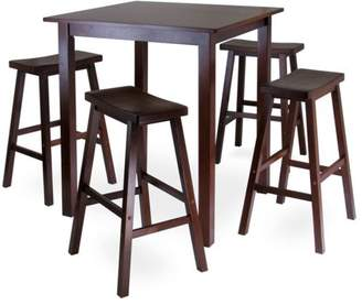 Winsome Parkland 5pc Square High/Pub Table Set with 4 Saddle Seat Stools