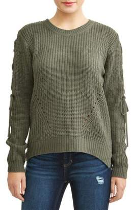 Moral Fiber Juniors' Long Sleeve Crew Neck Lace-Up Long Sleeve Sweater