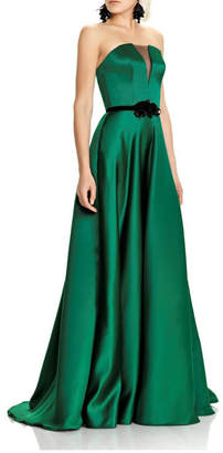 Theia Green Strapless Evening Gown