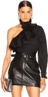 Oscar de la Renta Ruffle One Shoulder Top in Black | FWRD