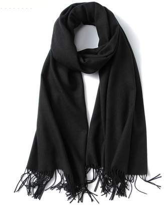 ASWear Soft Pashmina Solid Color Scarf Evening Shawl Wrap for Wedding Dress Party, Black