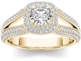 Imperial Diamond Imperial 1-1/2 Carat T.W. Diamond Split Shank Single Halo 14kt Yellow Gold Engagement Ring