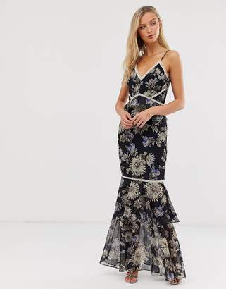 Hope & Ivy floral fitted maxi dress