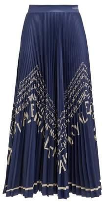 Valentino Chevron Logo Print Pleated Satin Skirt - Womens - Blue White