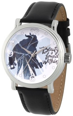 Disney Beauty and the Beast Men's Silver Vintage Alloy Watch, Black Leather Strap
