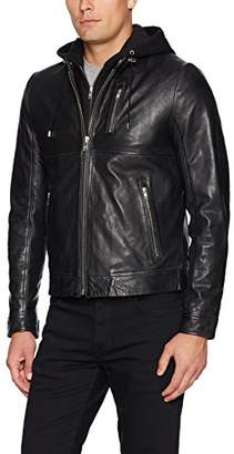 Moto LAMARQUE Men's Slayer Lambskin Leather Jacket with Removable Hoodie