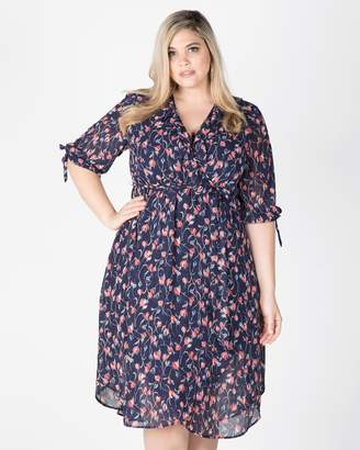 Tulip Floral Ruffle Midi Dress