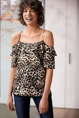2d54201d6e656 Next Womens Animal Print Lace Cold Shoulder Top