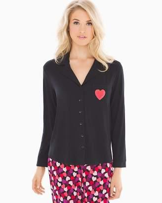 Cool Nights Long Sleeve Notch Collar Pajama Top Black