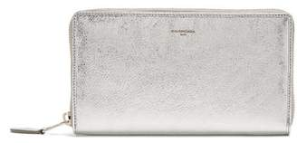 Balenciaga Metallic Zip Around Leather Wallet - Womens - Silver