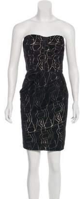 Lela Rose Strapless Mini Dress Black Strapless Mini Dress