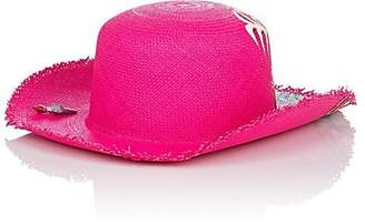 Ibo Maraca Women's Pink In Art Panama Straw Hat - Pink