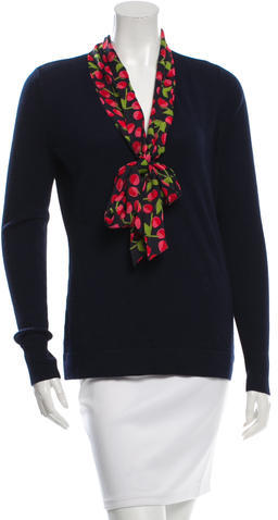 Tory BurchTory Burch Silk-Accented V-Neck Sweater w/ Tags