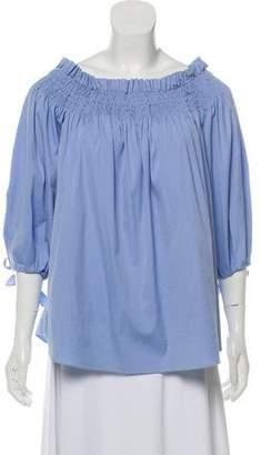 Caroline Constas Smocked Quarter Sleeve Blouse