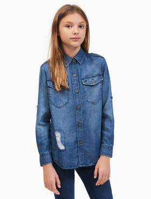 Calvin Klein girls denim distressed shirt