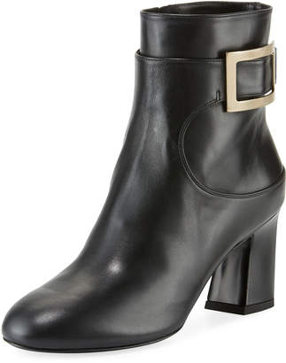 Roger Vivier Chunky-Heel Leather Buckle Booties