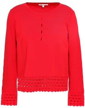 Maje Mariade Laser-cut Stretch-knit Sweater
