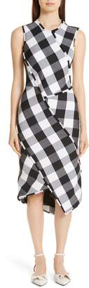 Altuzarra Paneled Gingham Stretch Wool Sheath Dress