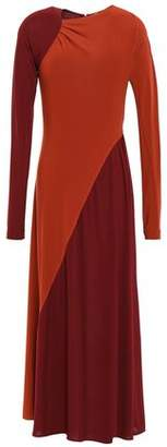 Victoria Beckham Gathered Two-tone Stretch Crepe-jersey Midi Dress
