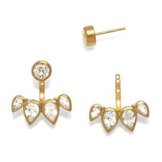 Satya Jewelry Women's White Topaz Petal Jacket Earrings