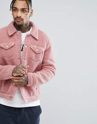 Asos DESIGN borg western jacket in pink