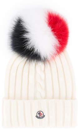 Moncler pom-pom logo beanie hat