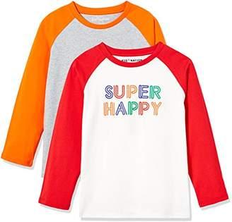 Kid Nation Kid's 2 Pack Long Sleeve Raglan T-Shirts with Solid Color Block Raglan for Boys Girls XL